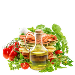 Olive oil with italian pasta, herbs and tomatoes. Food backgroun