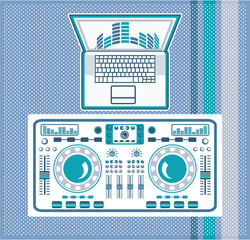 Turntable with Laptop DJ equipment Vector