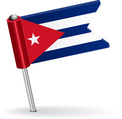 Cuban pin icon flag. Vector illustration