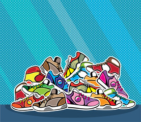 Pile of shoes vector pop art