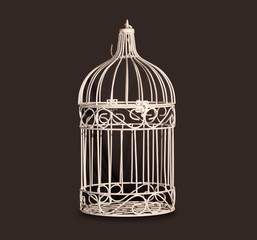 Shabby chic bird cage isolated on black background