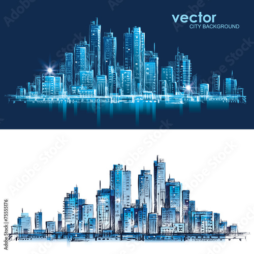 Cityscape. Hand drawn vector - 75555176