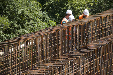 Iron armature on construction site of new railway bridge
