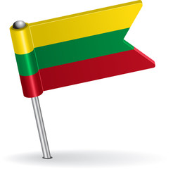 Lithuanian pin icon flag. Vector illustration