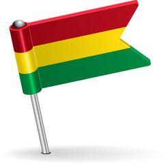 Bolivian pin icon flag. Vector illustration