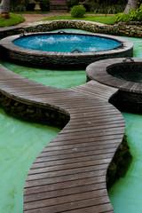 Vasca idromassaggio all'aperto.