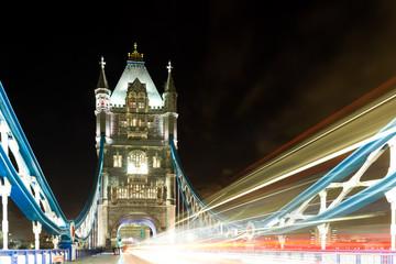 Traffic on Tower bridge at night