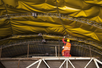 Mounting of insulation and steel framework on tunnel in Croatia