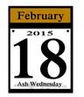 2015 ash wednesday calendar date icon