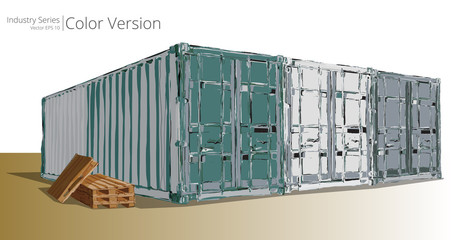 Vector illustration of Abstract containers, Color Series