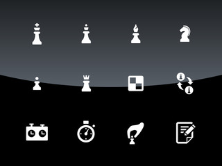 Set of Chess icons on black background.