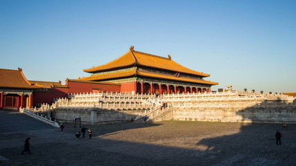 The Qianqing Palace and the shadow in Forbidden City, Beijing,