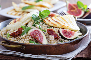 Spiced cous-cous with grilled haloumi