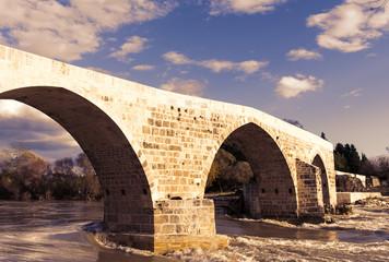 Turkey, Seljuqs bridge near Aspendos at sunset