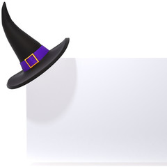 Witch hat on white panel 3d illustration