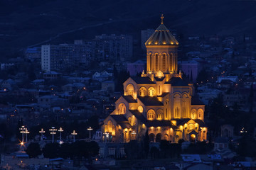 Night view of The Holy Trinity Cathedral of Tbilisi (Sameba)