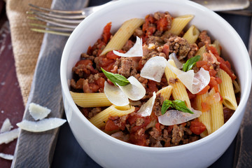 Pasta Bolognese with bacon