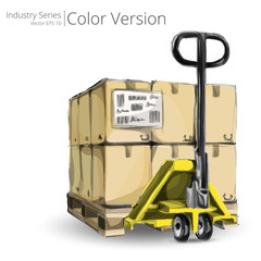 Vector illustration of hand truck with Pallet, Color Series.