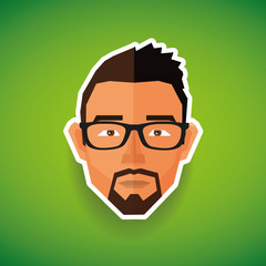 caucasian guy face in polygonal style - illustration