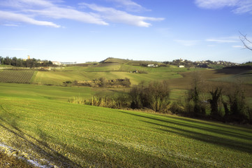 Monferrato early morning winter panorama. Color image