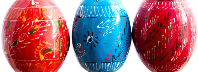 The pysankas or Easter eggs close up