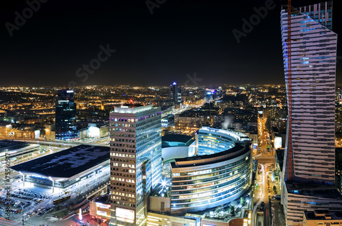 Fototapety, obrazy : View of the center of Warsaw at night