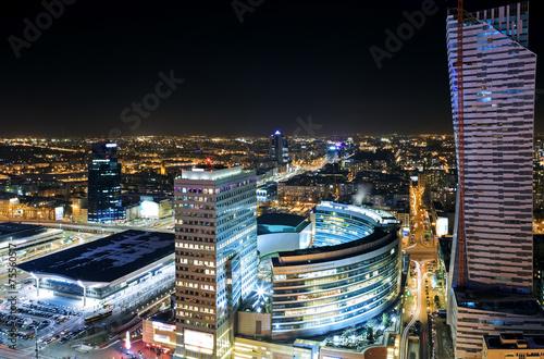 Zdjęcia na płótnie, fototapety na wymiar, obrazy na ścianę : View of the center of Warsaw at night