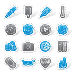Simple  medical themed icons and warning-signs - vector Icon Set