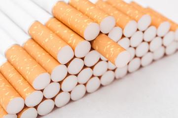 cigarettes closeup on white background