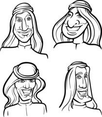 line drawing of arab men smiling faces