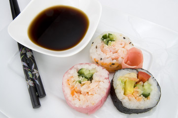 Japanese Various Sushi with Chopsticks and Soy Sauce