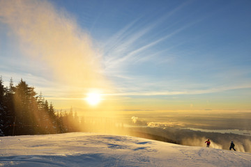 New Year's Day sunrise at Grouse Mountain Ski Hills