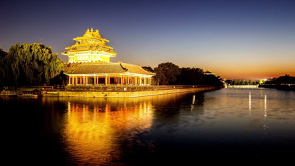 The sunset of Forbidden City Turret in Beijing, China
