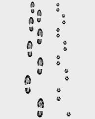 Black footprints of man and dog, vector