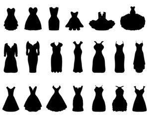 Black silhouettes of different cocktail dresses, vector