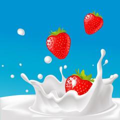 vector splash of milk with strawberry- illustration