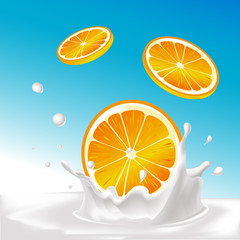 vector splash of milk with orange fruit - illustration