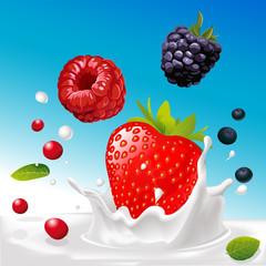 vector splash of milk with forrest fruit mix - illustration
