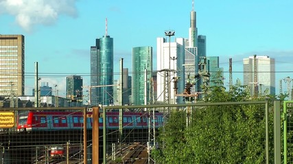 Business Towers and Train In Frankfurt