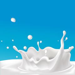 vector splash of milk - illustration with blue background