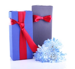 Two gift boxes with blue flower on white background