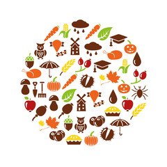 autumn icons in circle
