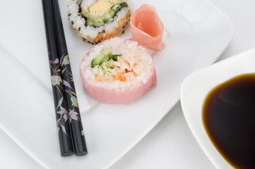 Japanese Pink Sushi with Chopsticks and Sauce