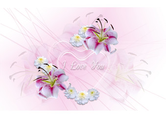 Transparent hearts with white lilies on a pink background