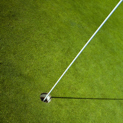 golf flag in green hole