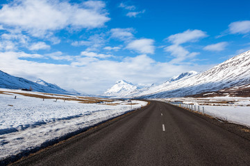 highway and snow mountain in Iceland
