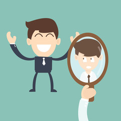 businessman Comparing Yourself to Others in the mirror - concept