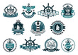 Dark blue nautical labels - 75564525