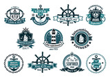 Dark blue nautical labels poster