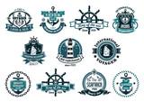 Dark blue nautical labels - 75564525
